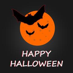 Hallaween bat to moon poster. Vector illustration