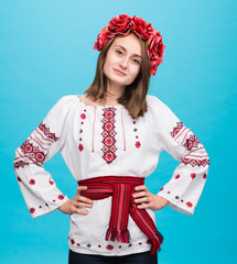Young smiling girl in the Ukrainian national suit