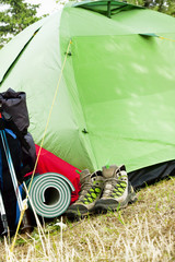 Camping.Mountain Boots, Tent and Backpack