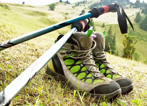 Staande foto Alpinisme Hiking Boots with Trekking Poles