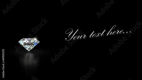 Diamond on black background with reflection - 69900392