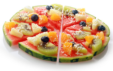 Exotic tropical fruit watermelon pizza