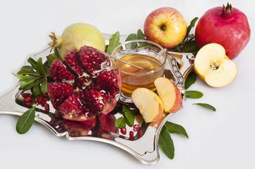 pomegranate,honey and apple for Rosh Hashana
