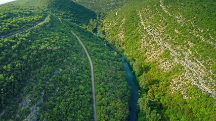 Krka river canyon aerial