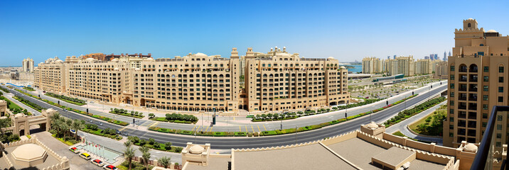 Panoramic view on Jumeirah Palm man-made island from luxury hote