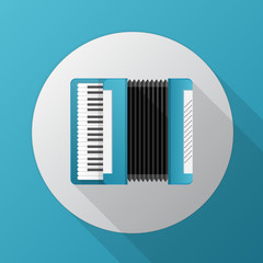 Flat icon for blue accordion