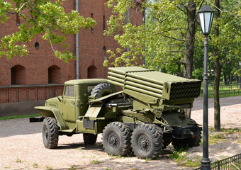 """Fighting vehicle of BM-21 (RSZO """"Hail"""") on the basis of the Ural"""