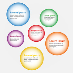 Infographics with text. Six circles for presenting or teaching