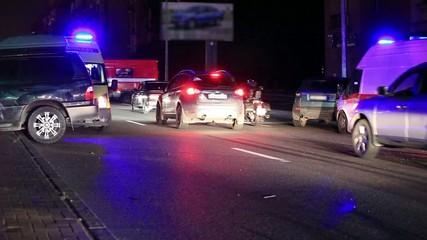 Crash and ambulance at night
