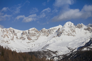 panorama of the Alpes at the Falcade in Italy