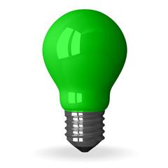 Green tungsten light bulb standing