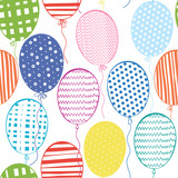 Seamless pattern with multicolored  balloons.Hand-drawn backgrou