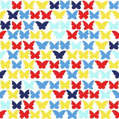 Seamless  background with multicolored butterflies.