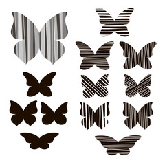 Set of butterflies silhouettes isolated on white background.