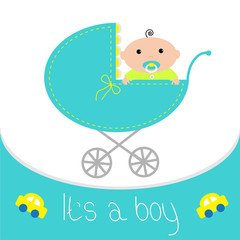 Baby blue carriage. It's a boy. Flat design style.