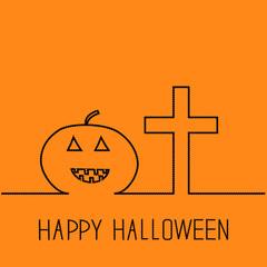 Contour pumpkin and cross.  Halloween Orange back Flat design.