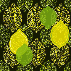Seamless pattern with lemon and lime .