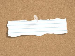 SCRAP of PAPER on CORKBOARD (notice board word)