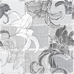 Monochrome seamless pattern with lilies. Hand-drawn floral backg