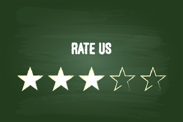 Three Star Feedback Rate Us On Green Chalkboard