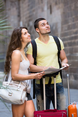 couple walking in city