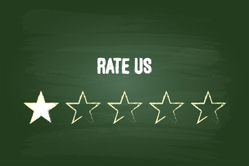 One Star Feedback Rate Us On Green Chalkboard