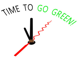 time to go green with clock concept