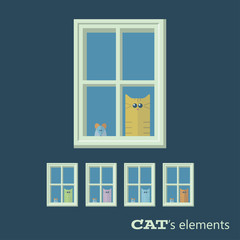 Vector cats elements