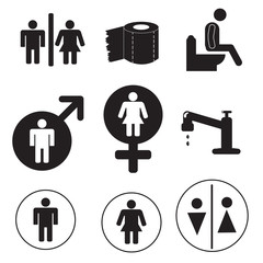 9 black icons toilet