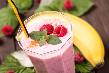 Raspberry banana smoothie closeup