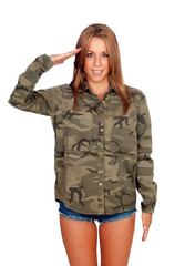 Casual woman with shirt and doing military salute