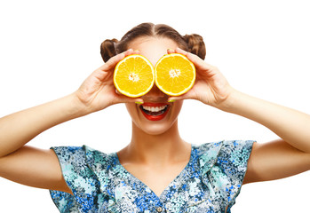 Beauty Model Girl with Juicy Oranges. Professional make up.