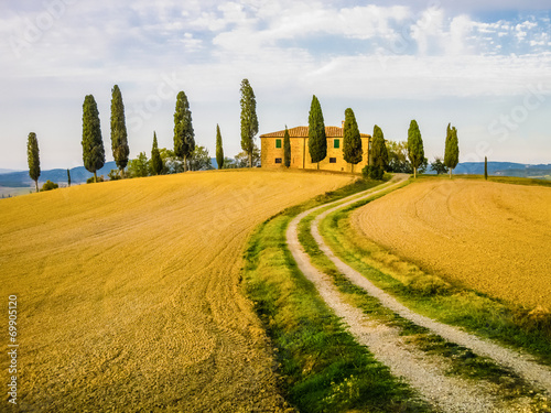 Typical farm in tuscan landscape, Italy - 69905120