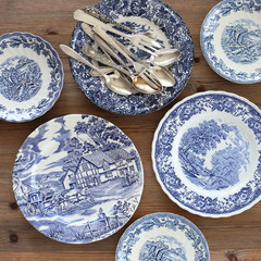 English cobalt plates