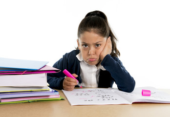 hispanic school girl bored in stress with upset face expression
