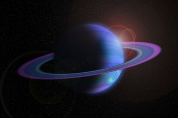 Giant gas planet with ring in outer space