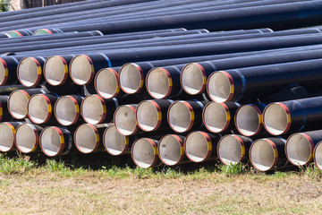 Construction Large Pipes Stacked