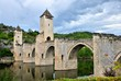 Medieval stone bridge with towers, Cahors, France