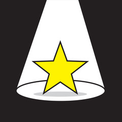 Yellow star with bright spotlight