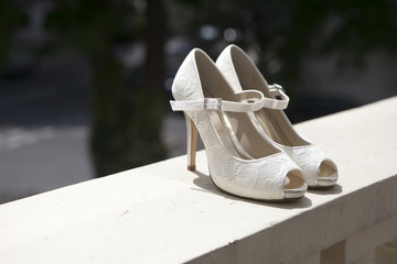 beautiful white shoes from bride