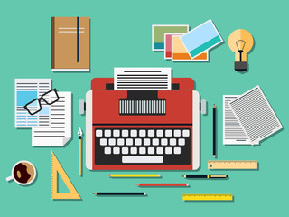 Editor retro style vector workplace