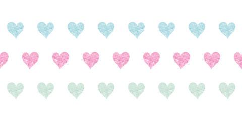 Colorful polka dot textile hearts horizontal seamless pattern