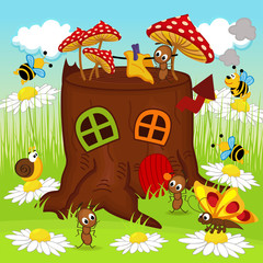 stump house insects - vector illustration, eps