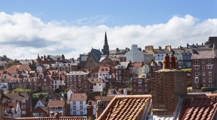View of Whitby, England with blue sky and clouds