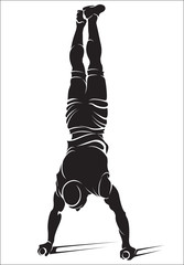 Sporty man doing street workout exercise. Handstand