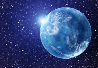 white flash of space planet. cosmos sky backgrounds