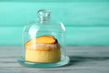 Tasty mini cake with fresh peach