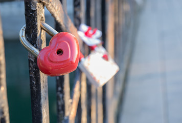 highlighted love lock on the bridge