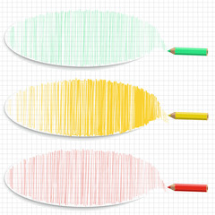 Set of colorful horizontal banners with hatching and pencils.