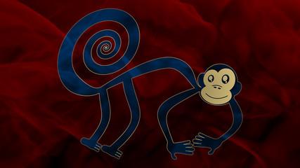 Nazca - Monkey 2 - Blue & Red
